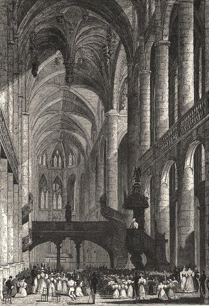 Associate Product PARIS. Interieur de St. Etienne du Mont 1831 old antique vintage print picture
