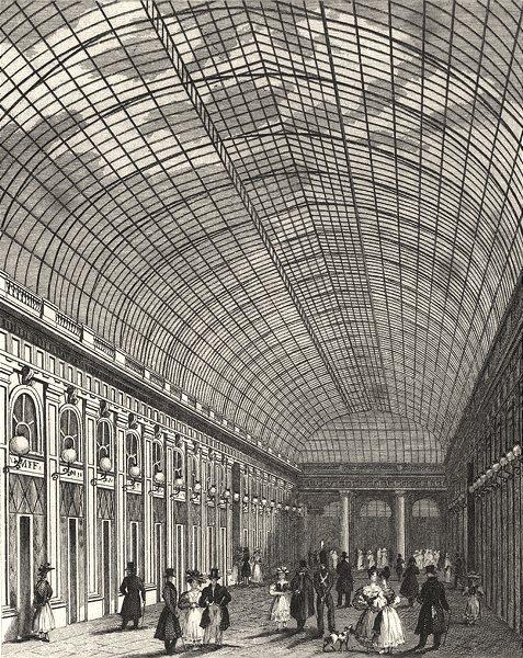 Associate Product PARIS. Interieur de la Galerie du Palais Royal 1831 old antique print picture