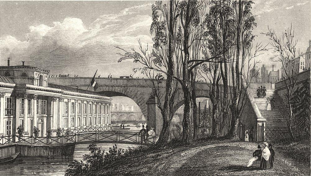 Associate Product PARIS. Bains Vigier, Pont Royal 1831 old antique vintage print picture