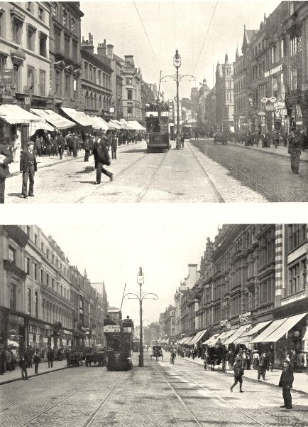 Associate Product LIVERPOOL. Lord Street, Looking West; Lord Street, Looking East 1900 old print