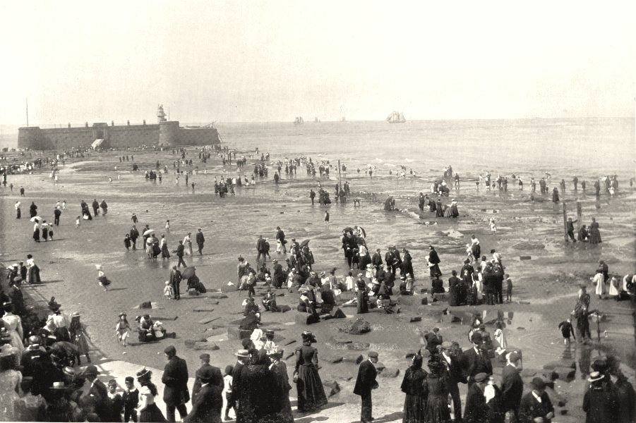 CHESHIRE. New Brighton Beach and Battery 1900 old antique print picture