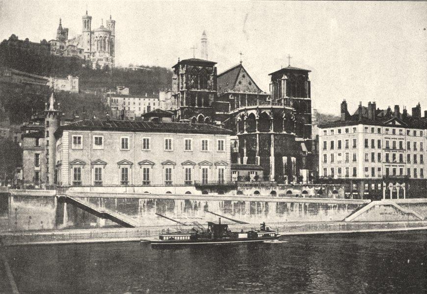 RHÔNE. Lyon. Archevêché, St- Jean Fourvières 1895 old antique print picture