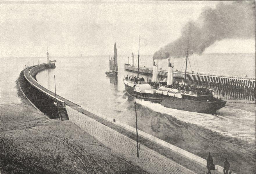 Associate Product PAS- DE- CALAIS. Boulogne- sur- Mer. Jetées 1895 old antique print picture