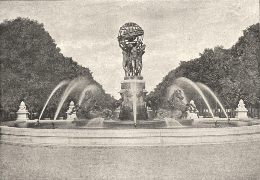 Associate Product PARIS. Fontaine du Carrefour de L'Observatoire 1895 old antique print picture