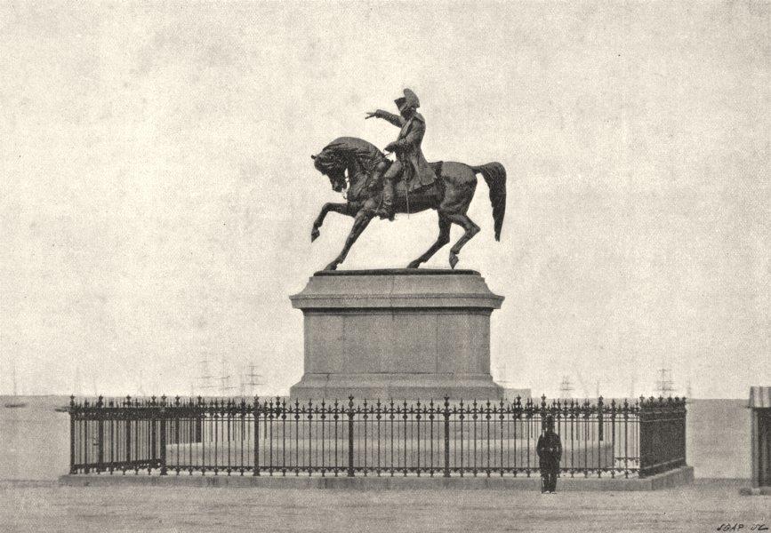 Associate Product MANCHE. Cherbourg. Statue de Napoléon Ier 1895 old antique print picture