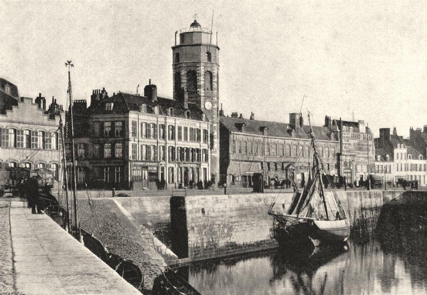 Associate Product NORD. Dunkerque. Tour Quai du Lenghenaer 1895 old antique print picture