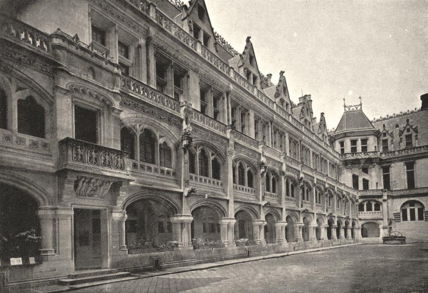 Associate Product OISE. Pierrefonds. Cour. Galerie Extérieure 1895 old antique print picture