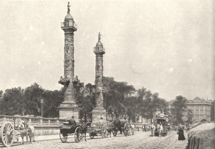 Associate Product GIRONDE. Bordeaux. Colonnes Rostrales 1895 old antique vintage print picture