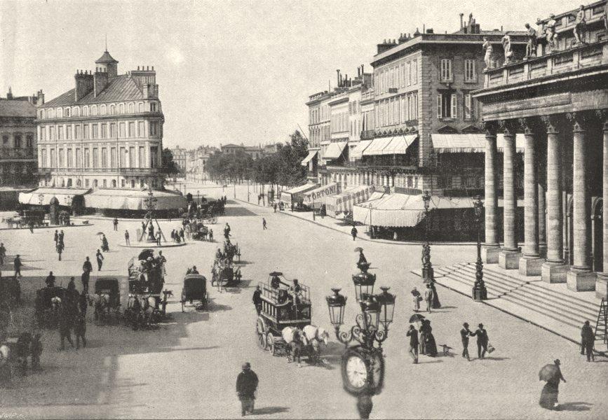Associate Product GIRONDE. Bordeaux, Place de Comédie 1895 old antique vintage print picture
