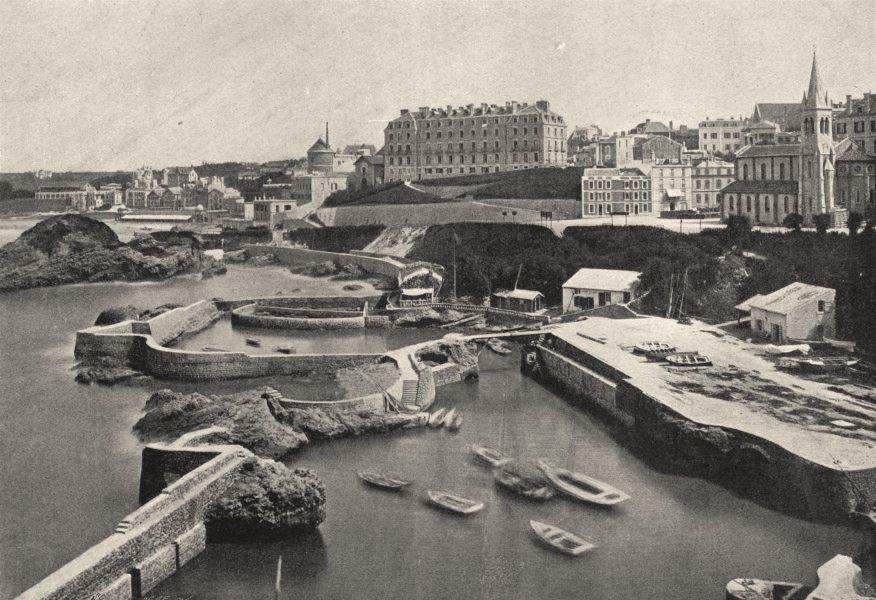 Associate Product PYRÉNÉES- ATLANTIQUES. Biarritz. port des Pêcheurs 1895 old print
