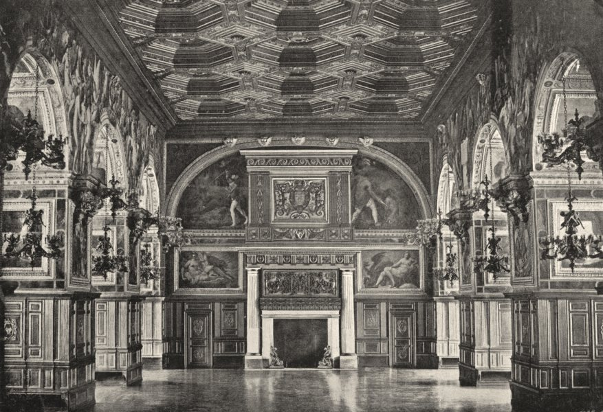 Associate Product SEINE- ET- MARNE. Fontainebleau. Salle Henri II 1895 old antique print picture