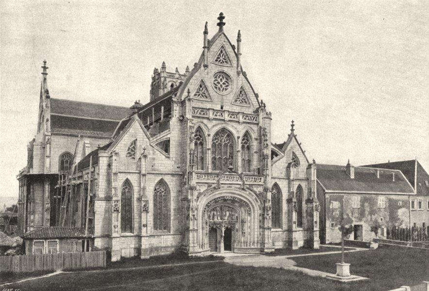 Associate Product AIN. Brou. Façade de L'Église 1895 old antique vintage print picture