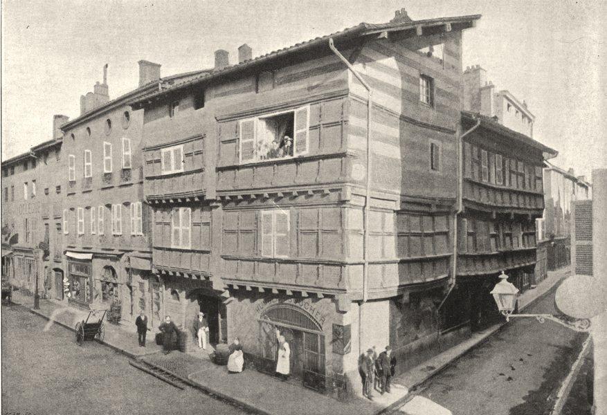 Associate Product AIN. Bourg. Vieilles Maisons Espagnoles, rue Gambetta 1895 old antique print