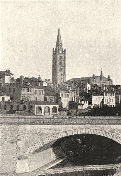 HAUTE- GARONNE. Toulouse. Clocher de Dalbade 1895 old antique print picture