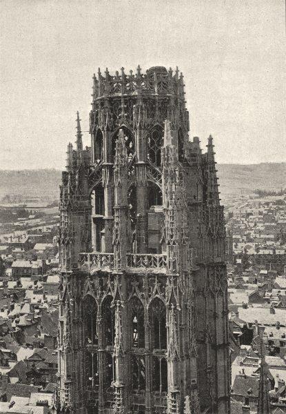Associate Product SEINE- MARITIME. Rouen. Cathédrale. Tour de Beurre 1895 old antique print