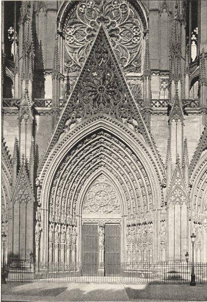 Associate Product SEINE- MARITIME. Rouen. St- Ouen. Portail 1895 old antique print picture