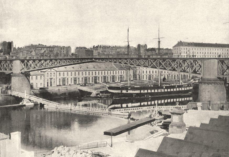 Associate Product FINISTÈRE. Brest. Pont Tournant 1895 old antique vintage print picture