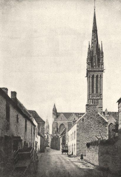FINISTÈRE. St- Pol- de- Léon. Église du Kreisker 1895 old antique print