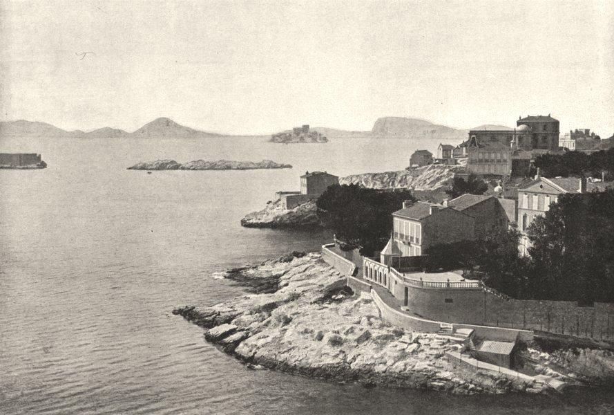 Associate Product BOUCHES- DU- RHÔNE. Marseille. Corniche. Pointe de Malmosque 1895 old print