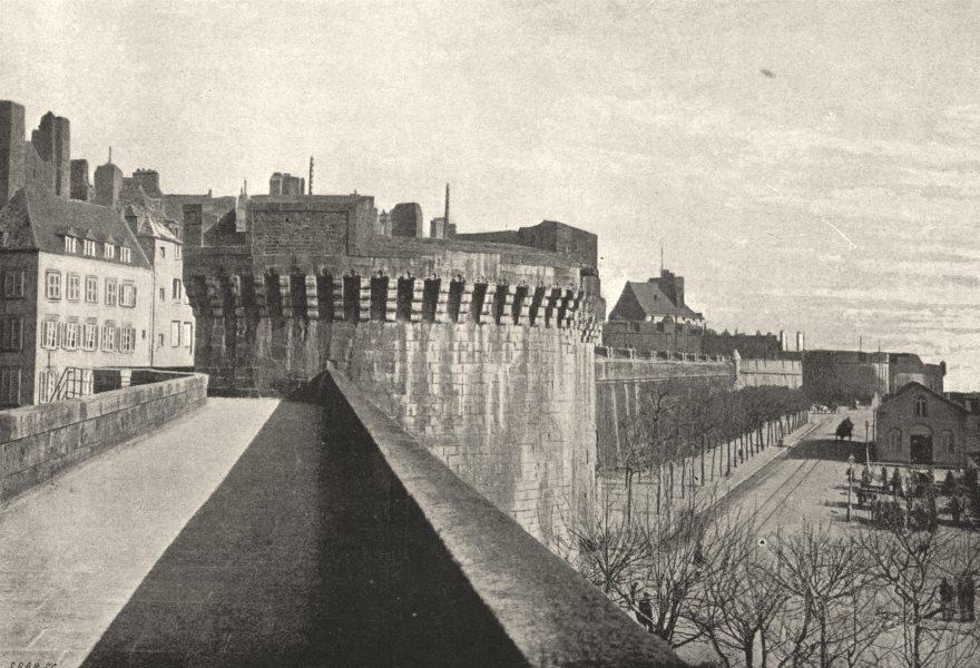 Associate Product ILLE- ET- VILAINE. St- Malo. Remparts. Côté du port 1895 old antique print