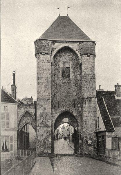 Associate Product SEINE- ET- MARNE. Moret. Porte de Bourgogne 1895 old antique print picture