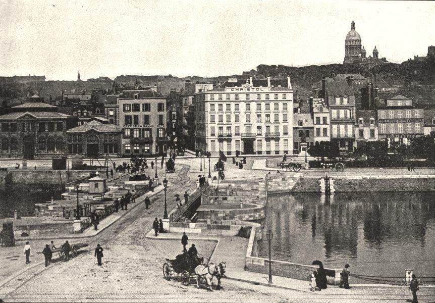 Associate Product PAS- DE- CALAIS. Boulogne- sur- mer. Pont Marquet 1895 old antique print