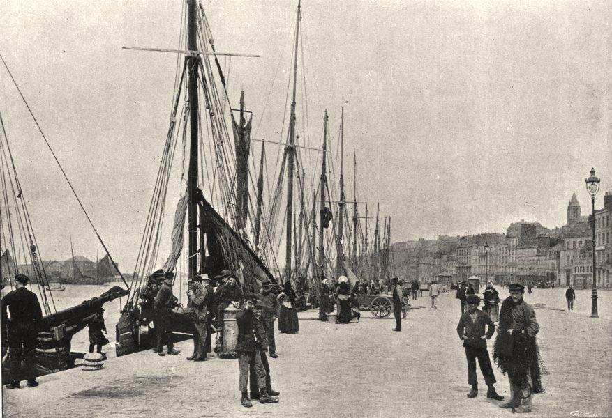 Associate Product PAS- DE- CALAIS. Boulogne- sur- mer. Quai Gambetta 1895 old antique print