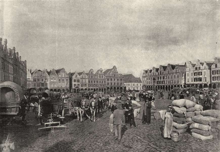 Associate Product PAS- DE- CALAIS. Arras. Grande place 1895 old antique vintage print picture