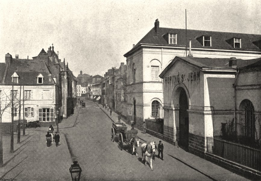 Associate Product PAS- DE- CALAIS. Arras. Rue St- Aubert 1895 old antique vintage print picture