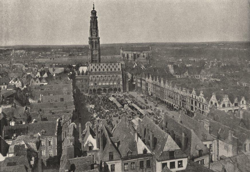Associate Product PAS- DE- CALAIS. Arras. Place du Marché 1895 old antique vintage print picture