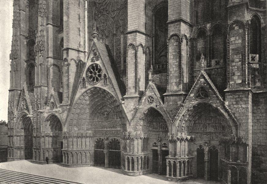 CHER. Bourges. Cathédrale. Porte Centrale 1895 old antique print picture