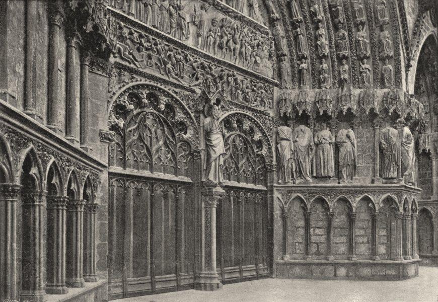 Associate Product CHER. Bourges. Cathédrale. Portail Ouest. Ensemble 1895 old antique print