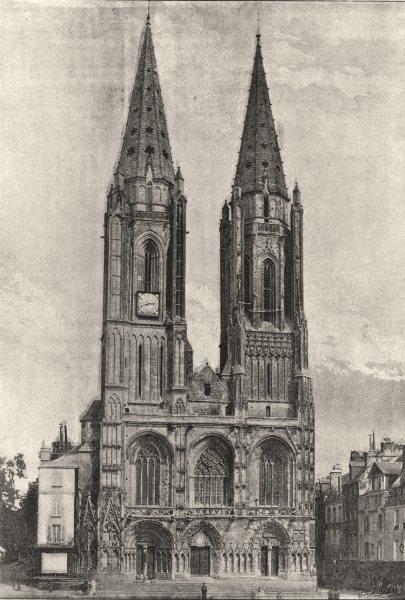 Associate Product MANCHE. St- Lo. Cathédrale 1895 old antique vintage print picture