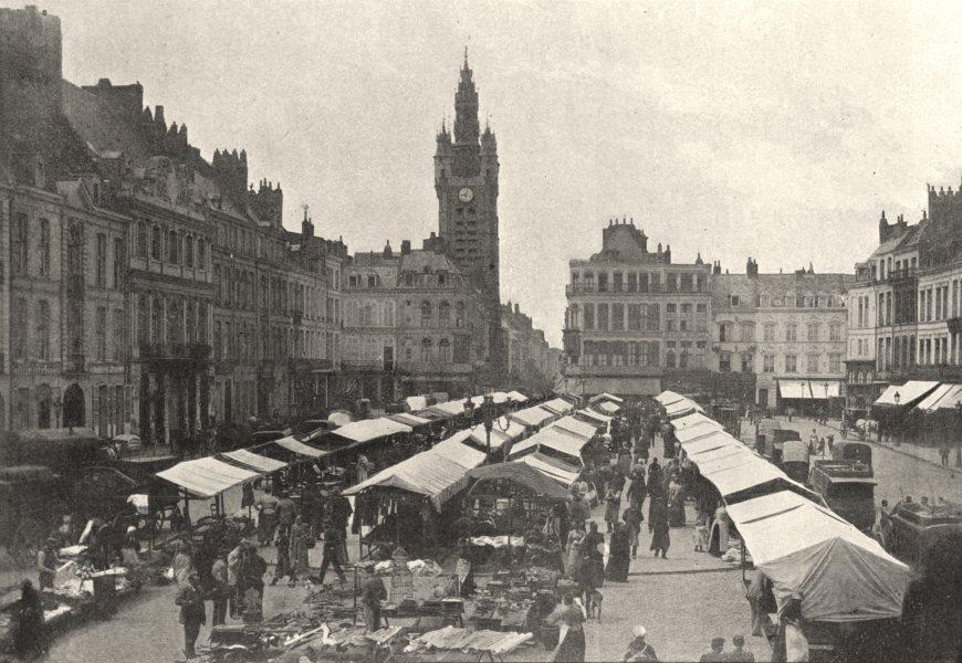 Associate Product NORD. Douai. Marché 1895 old antique vintage print picture