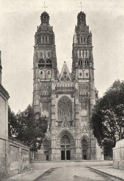 Associate Product FRANCE. Tours. Cathédrale. Ensemble 1895 old antique vintage print picture