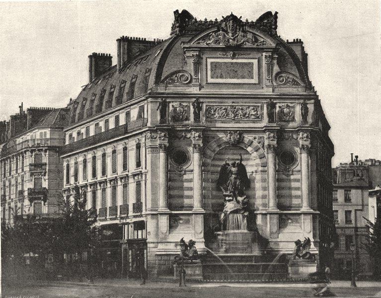 Associate Product PARIS. Fontaine St- Michel 1895 old antique vintage print picture