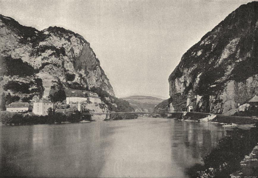 Associate Product RHÔNE. Yenne. Pont sur Rhone 1895 old antique vintage print picture