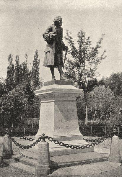 Associate Product AIN. Ferney. Statue de Voltaire 1895 old antique vintage print picture
