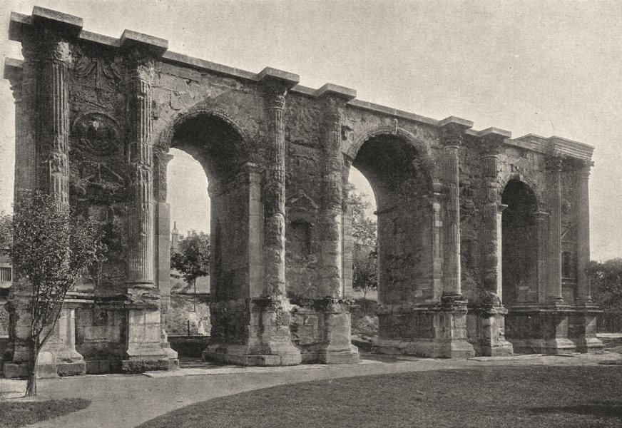 Associate Product MARNE. Reims. Porte Romaine 1895 old antique vintage print picture