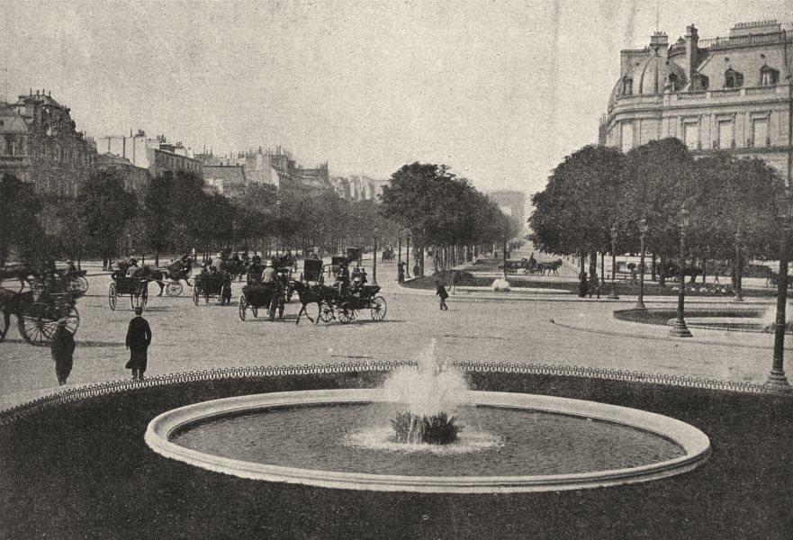 Associate Product PARIS. Rond- point des Champs- Elysées 1895 old antique vintage print picture