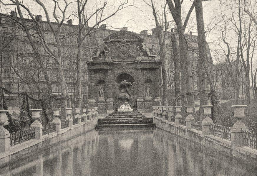 Associate Product PARIS. Luxembourg. Fontaine Médicis 1895 old antique vintage print picture
