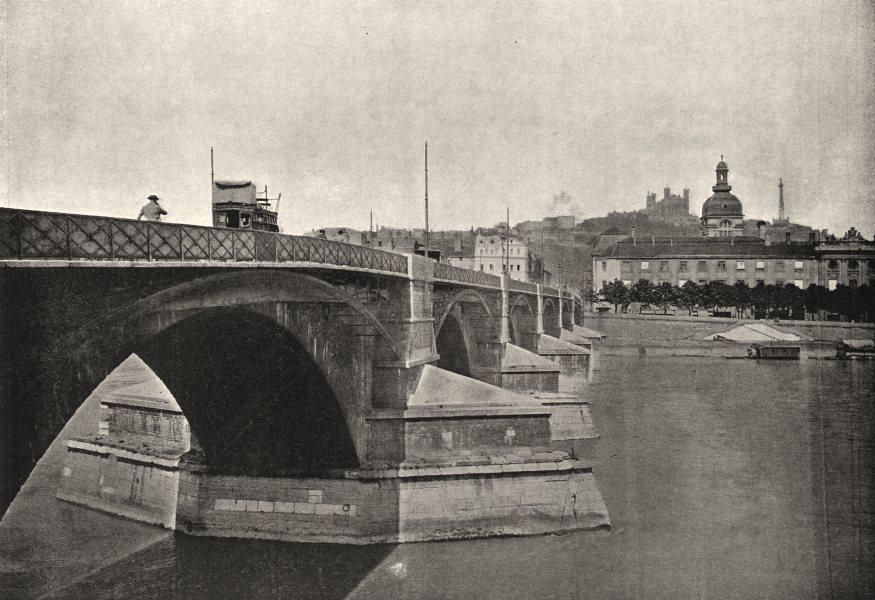 Associate Product RHÔNE. Lyon. Pont de Guillottière 1895 old antique vintage print picture