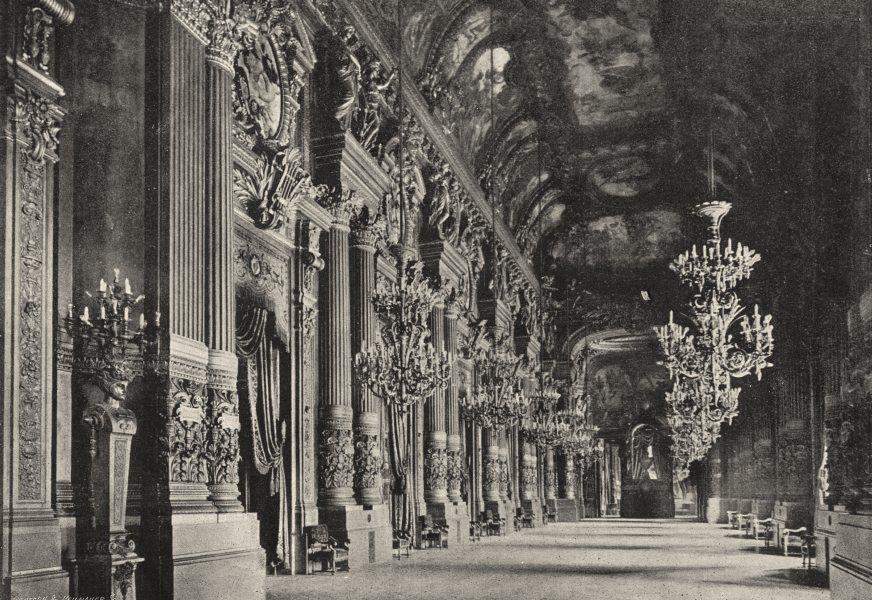 Associate Product PARIS. Opéra. Foyer 1895 old antique vintage print picture