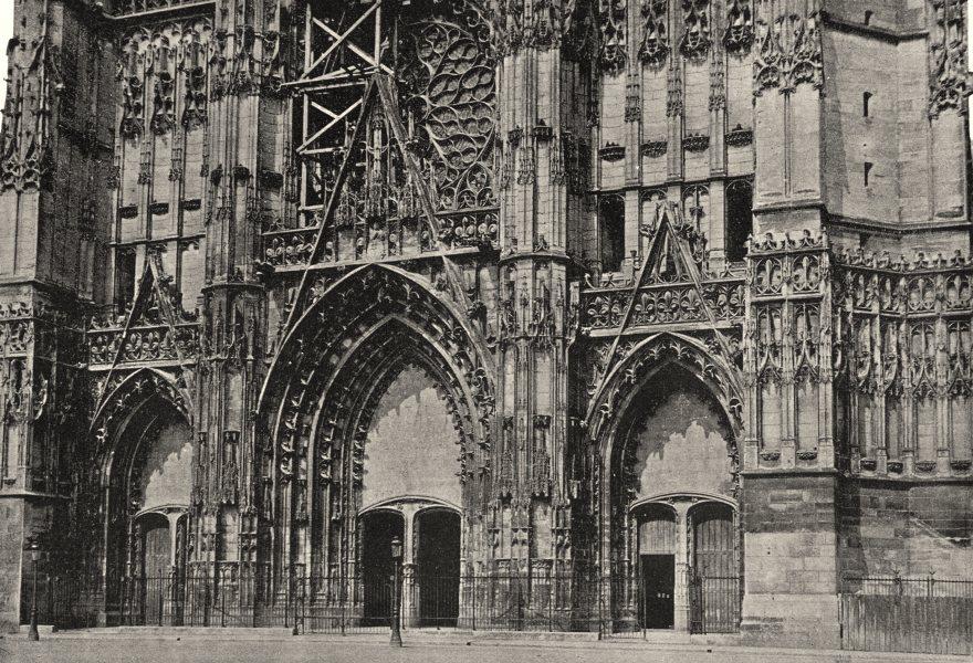 Associate Product AUBE. Troyes. Portail de Cathédrale St- Pierre 1895 old antique print picture