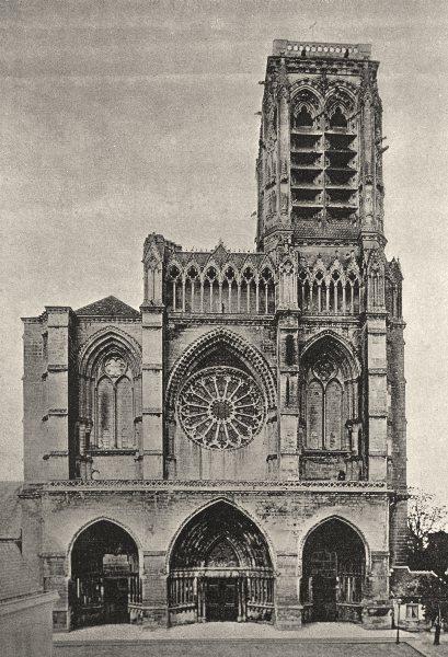Associate Product AISNE. Soissons. Cathedrale 1895 old antique vintage print picture