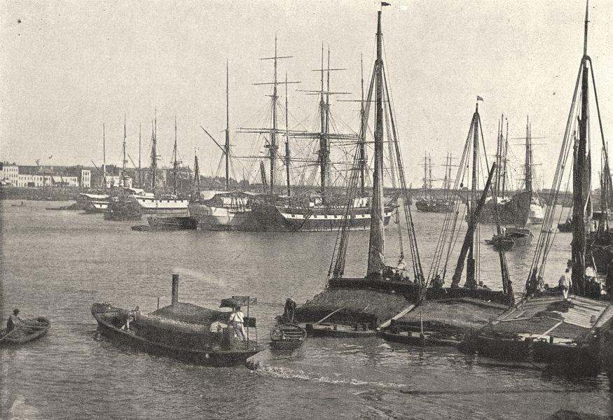 Associate Product GIRONDE. Bordeaux. port 1895 old antique vintage print picture