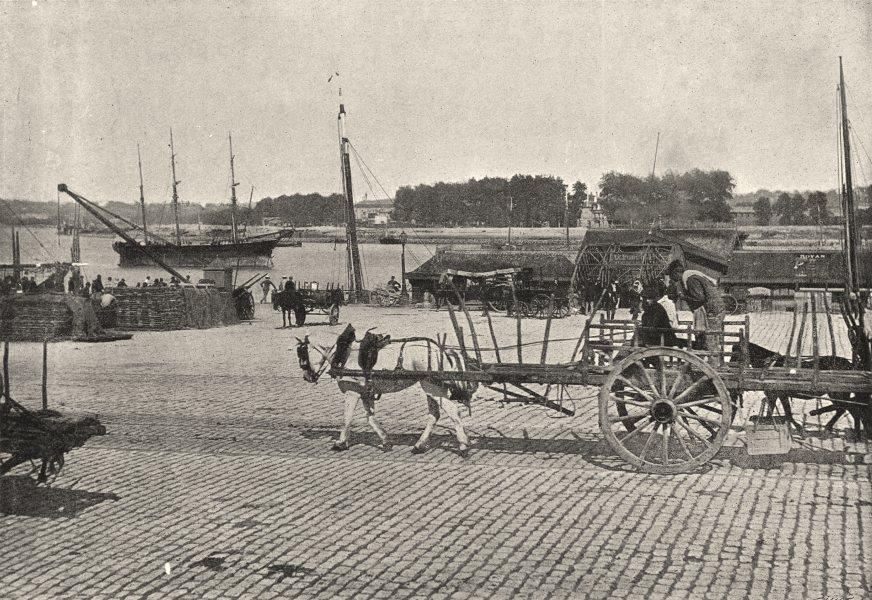 Associate Product GIRONDE. Bordeaux. Un Quai 1895 old antique vintage print picture