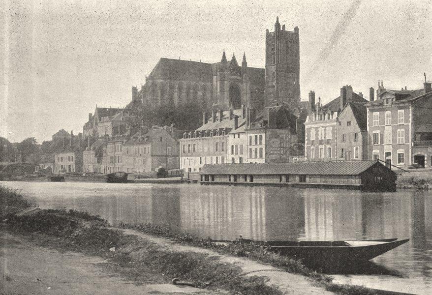 Associate Product YONNE. Auxerre. Quais 1895 old antique vintage print picture