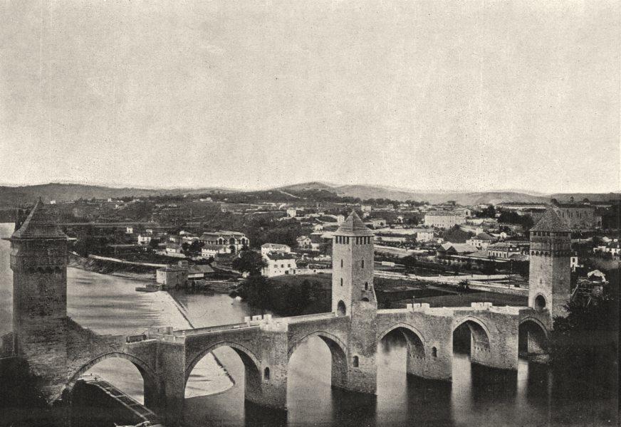 Associate Product LOT. Cahors. Pont Valentré 1895 old antique vintage print picture