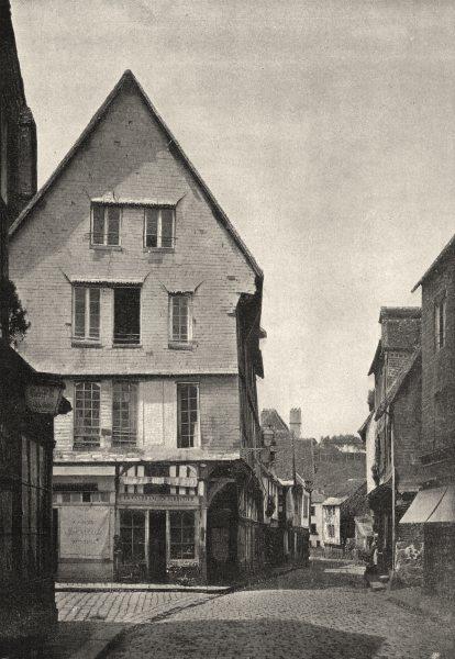 Associate Product EURE. Bernay. Maisons en Bois 1895 old antique vintage print picture